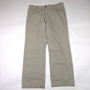 Express Producer Chino 36 X 32 Beige Striped Pants